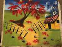Bright & Cheery Fence Hand Painting! An Original!
