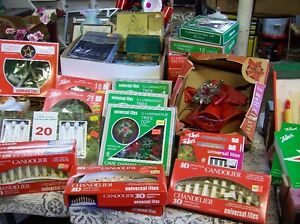 """VINTAGE """"CHRISTMAS"""" LOT - TREE TOPPERS - LIGHTS - GIFT WRAP - ET"""