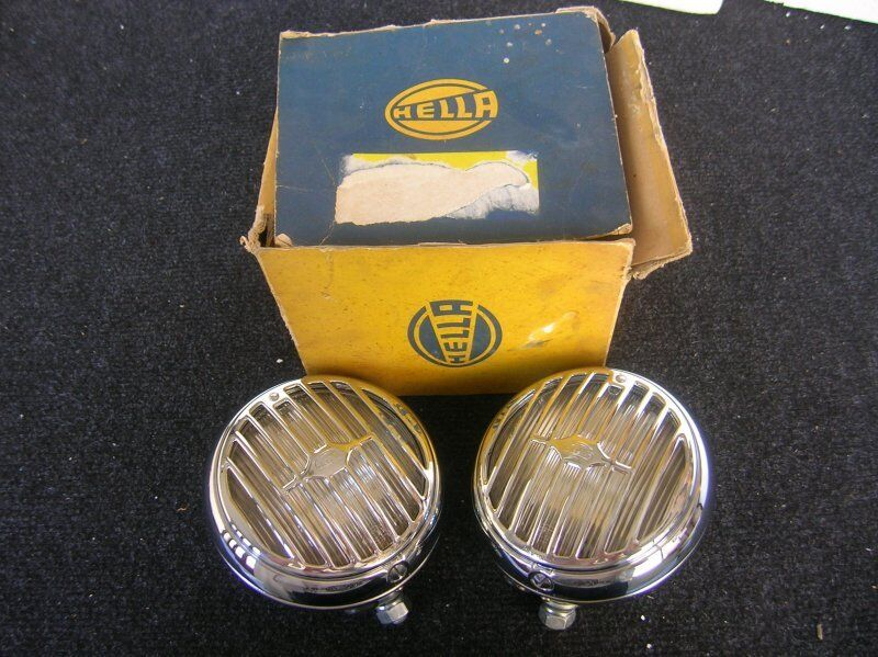GRIL HELLA CHROME GUARD RALLY FOG LAMP LIGHT FOGLIGHT PORSCHE 356 VW BODY NOS