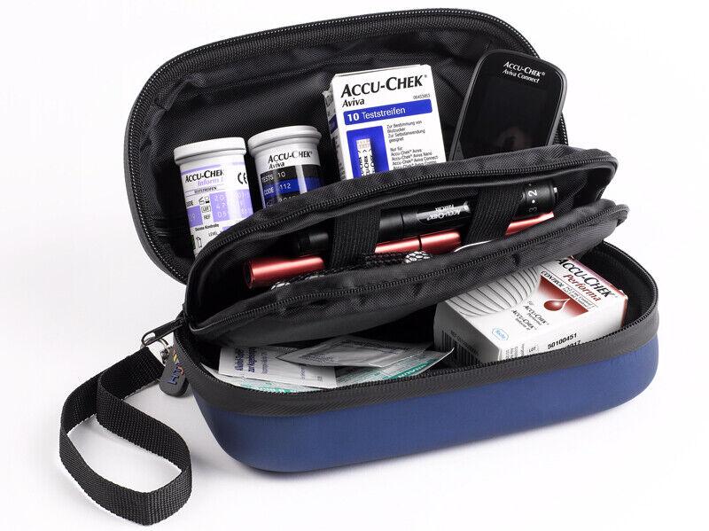 B-Ware NEU Diabetikertasche inkl. 2 Kühlakkus wasserabweisend blau