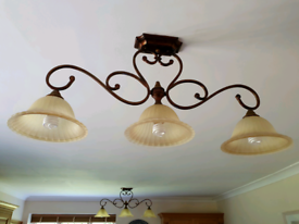 Scrolled, bronzed light fittings