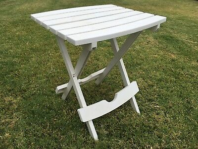 Small white plastic collapsible portable patio beach picnic table  - Small Picnic Table