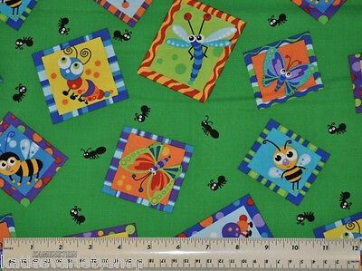 1/2 yd cotton quilt fabric Framed Bugs Blank children sewing home decor craft ()