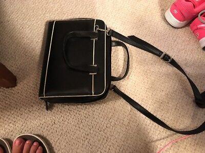 Franklin Covey Day Planner Black Leather Shoulder Strap