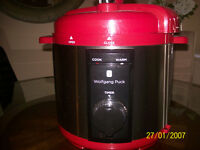 Wolfgang Puck Black 8-Qt. Rapid Pressure Cooker Red