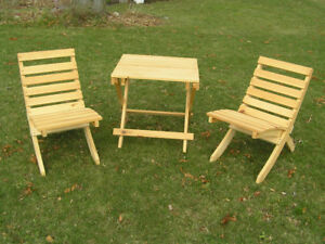 Pine folding table and chairs