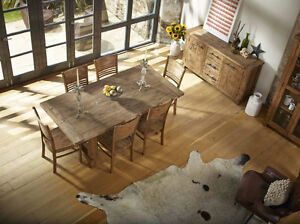 Country Reclaimed Solid Wood Dining Table Set, FREE Delivery