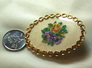 Vintage Gold Tone Braided Floral Embroidery Brooch forget me not