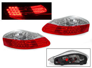 FREE SHIP DEPO USA 97-04 PORSCHE BOXSTER 986 Roadster Red / Clear LED TAIL LIGHT