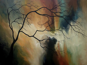Original Surreal Tree Abstract PAINTINGS by CES
