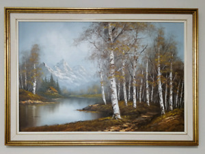 Vintage Large Oil Painting by Wallace