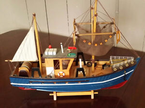 """Hand made wooden ship trawler - built in the 1950's 18 """" ship"""