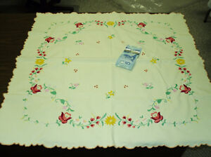 Hand embroidered Linen small table cloth