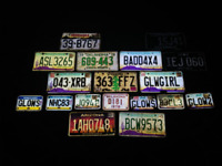 US licence plates, truck, trailer, motorcycle