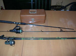 Fishing Rods and fishing lures and metal box