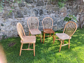 Set of 4 Ercol kitchen chairs. Part stripped