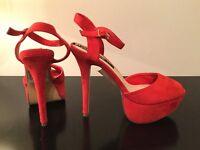 Diora platform sandal high heel red size 7/40
