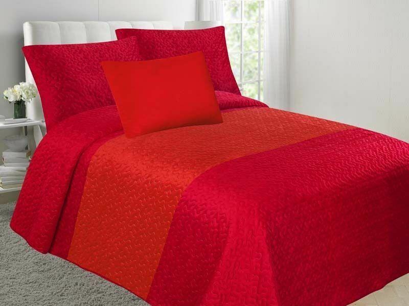 Velvet Embossed Bedspread Soft Quilt 4-Piece Multi-Tone Bed