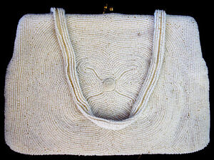 ANTIQUE CLUTCH PURSE BAG MFG BELGIUM MICRO BEAD VERY GOOD COND.
