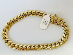 NEW 10K YELLOW GOLD MIAMI CUBAN LINK BRACELET ON SALE NOW!