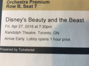 FRONT ROW BEAUTY AND THE BEAST TORONTO