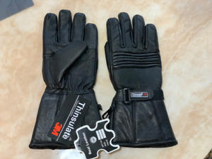 MEN WINTER INSULATE LEATHER GLOVES BLACK THERMAL LINING L/XL