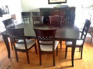 Solid wood, brown, 8 chairs, & buffet dining room set *REDUCED *