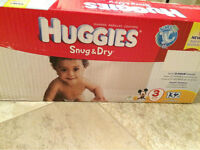 Huggies size 2 and 3 and Pampers size 3+wipes