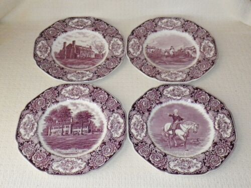 Crown Ducal George Washington Bicentenary Memorial Lilac Dinner Plates (4)