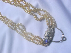 Pearl Knecklace Perle Collier Or Diamond 14K Vintage