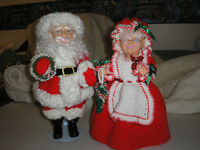 Handcrafted Santa and Mrs. Claus dolls