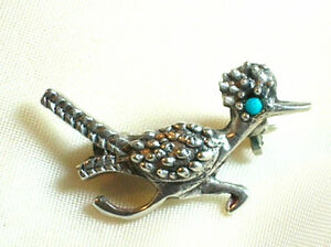 Vintage Sterling Silver Roadrunner Brooch with Turquoise Eye
