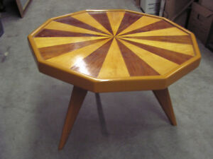 10-sided Walnut & Maple Inlaid Starburst Occasional Table