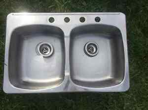 Stainless Steel Sink with Two Basins in Very Good Condition