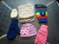 Hand Knitted items new  $30.00 or $5.00 each