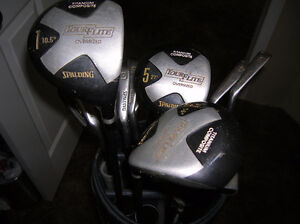 Right handed graphite golf clubs and bag