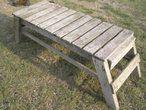 Old wooden wash tub bench from the farm