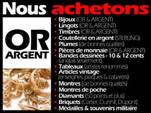 Achetons OR • ARGENT • BIJOUX • MONTRES • MONNAIE