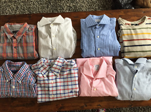 7 designer button down dress shirts and 1 striped sweater
