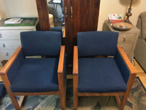 Mid Century Modern blue accent chairs
