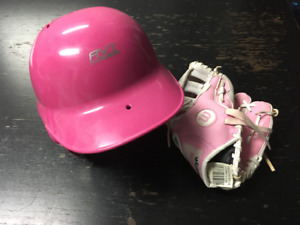 Girls t-ball helmet and glove.
