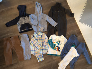 BABY BOY SIZE 12-18 MONTH FALL CLOTHING - 11 PIECE IN TOTAL