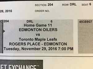 Oilers tickets Vrs Maple Leafs. November 29 Strathcona County Edmonton Area image 2