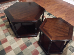 Two Hexagonal dark wood coffee/side tables