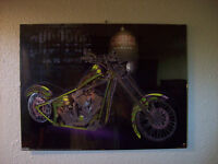 MOTORCYCLE CHOPPER POSTER IN WALL HANGING FRAME