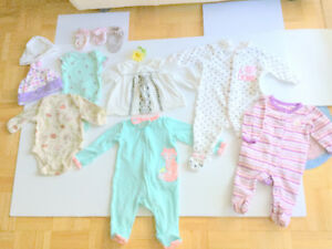 Baby Girl Clothes NB (0-3 m.) (8 item. $1.87 ea.) Dress, Jumpers