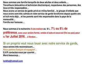 Famille cherche maison, 6½, 7½ ou 8½ à Verdun