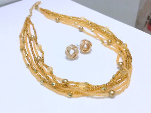 Wired Gold-Tone Necklace + Earrings Jewellery Fashion Accessorie