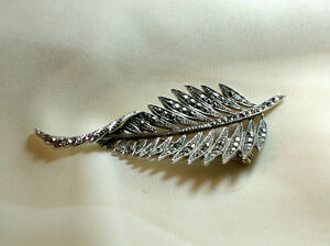 Vintage Marcasite Studded 800 Silver Feather brooch