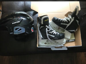 Youth hockey helmet and skates for sale
